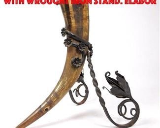 Lot 78 Natural Horn Cornucopia with Wrought Iron Stand. Elabor