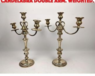 Lot 80 Large Pair Sterling Candelabra Double Arm. Weighted.