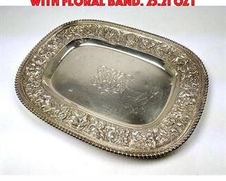 Lot 91 J E CALDWELL Sterling Tray with Floral Band. 25.21 OZT