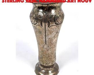 Lot 95 Large CLEMENS FRIEDELL Sterling Vase. Hammered Art Nouv