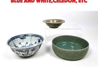 Lot 101 3pcs Asian Pottery Bowl. Blue and White,Celedon, etc