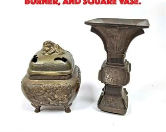 Lot 103 2 pcs Asian Bronze. Incense Burner, and Square Vase.
