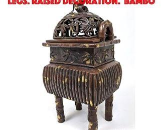 Lot 106 Asian Incense Burner On Legs. Raised Decoration. Bambo