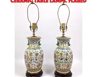 Lot 109 Pr Chinese Paint Decorated Ceramic Table Lamps. Flared
