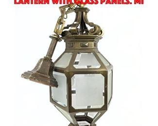 Lot 112 Large Heavy Brass HAnging Lantern with Glass Panels. Mi