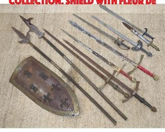 Lot 113 11pc Sword and Shield Collection. Shield with fleur de