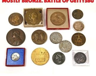 Lot 117 14pcs Vintage Medals. Mostly Bronze. Battle of Gettysbu