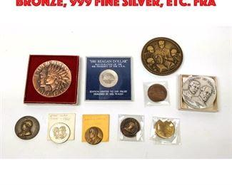 Lot 118 10pcs Vintage Medals. Bronze, 999 Fine Silver, Etc. Fra