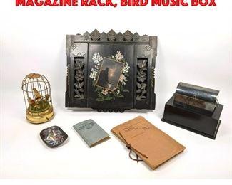 Lot 121 Mixed Victorian Lot. Wall Magazine Rack, Bird music box