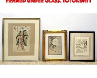 Lot 122 3pcs Asian Block Prints. Framed under glass. TOYOKUNI I