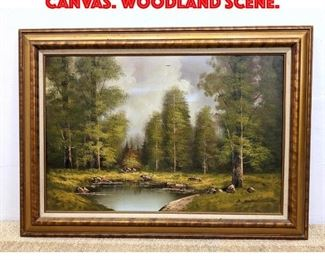 Lot 123 B. WILCOX Oil Painting on Canvas. Woodland scene.