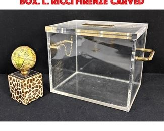Lot 132 Hinged Lid Lucite Storage box. L. RICCI Firenze Carved