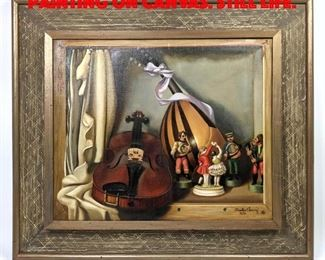 Lot 136 CHARLES CERNY 1950 Oil Painting on Canvas. Still Life.