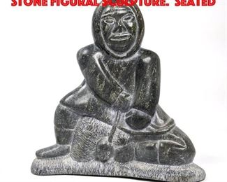 Lot 137 Canadian Eskimo Carved Stone Figural Sculpture. Seated