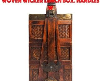 Lot 138 Asian possibly Korean Woven Wicker Lunch Box. Handles w
