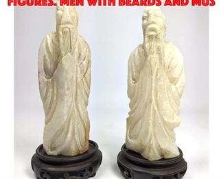 Lot 140 2pc Carved Stone Asian Figures. Men with beards and mus