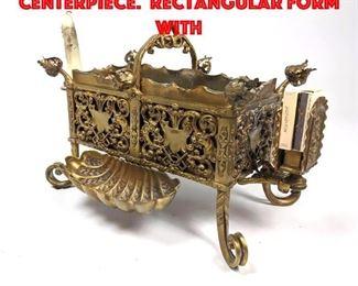 Lot 144 Vintage Fancy Brass Centerpiece. Rectangular form with