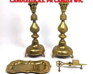 Lot 147 4pc Vintage Brass Items. Pr Candlesticks. Pr Candle Wic