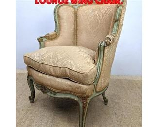 Lot 151 French Style Carved Frame Lounge Wing Chair.