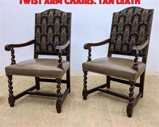 Lot 152 Pr L J.G. STICKLEY Barley Twist Arm Chairs. Tan Leath