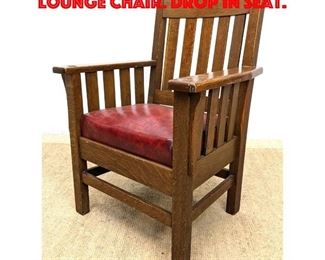 Lot 153 Mission Arts and Crafts Arm Lounge Chair. Drop in seat.