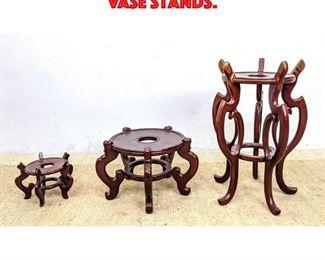 Lot 154 3pcs Asian Wood Vase Stands.