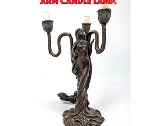Lot 155 Art Nouveau Style Three arm Candle Lamp.