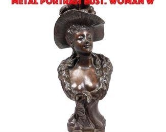 Lot 157 After Louis Hottot Figural Metal Portrait Bust. Woman w