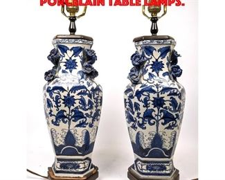Lot 159 Pair Asian Blue and White Porcelain Table Lamps.
