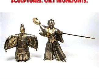 Lot 160 Pair Japanese Metal Figure Sculptures. Gilt highlights.