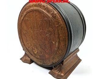 Lot 161 Vintage wood and Metal Radio Speaker.
