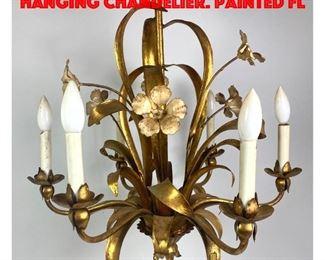 Lot 165 Italian style Gilt Metal Hanging Chandelier. Painted Fl