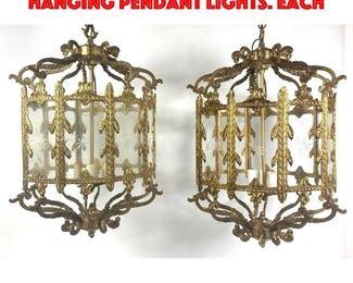 Lot 164 Pr Gold Metal Glass Panels Hanging Pendant Lights. Each
