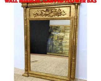 Lot 173 Carved Wood Gilt Painted Wall Mirror. Carved flower bas
