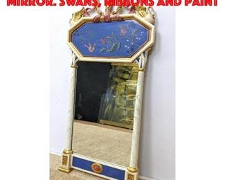 Lot 175 Decorator Painted Wall Mirror. Swans, ribbons and paint
