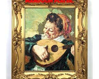 Lot 177 Signed Oil Painting of Mandolin Player.