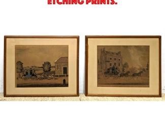 Lot 179 2 Antique Carriage Colored Etching Prints.
