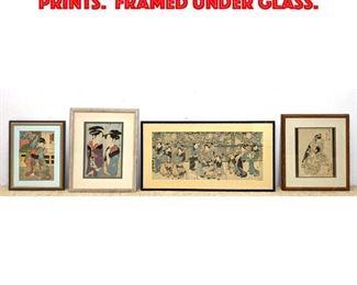 Lot 183 4pcs Asian Wood Block Prints. Framed Under Glass.