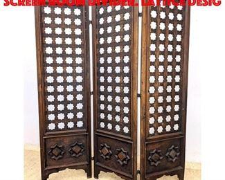 Lot 187 3 Panel Folding Wood Screen Room Divider. Lattice desig