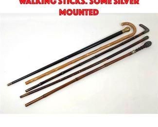 Lot 188 5 pcs Vintage Canes walking Sticks. Some silver mounted