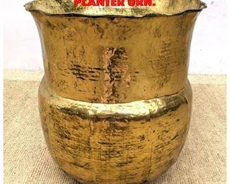 Lot 191 Hammered Brass Floor Planter Urn.