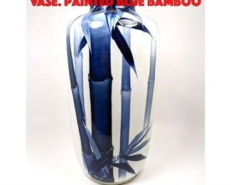 Lot 192 19 Tall Ceramic Art Pottery Vase. Painted blue bamboo