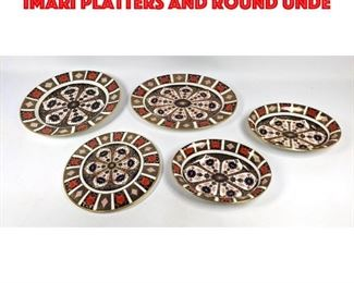 Lot 201 5pc ROYAL CROWN DERBY OLD IMARI Platters and round unde