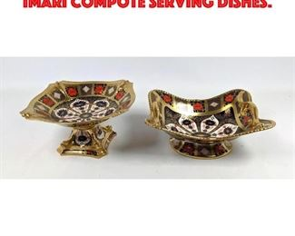 Lot 203 2pc ROYAL CROWN DERBY OLD IMARI Compote Serving dishes.