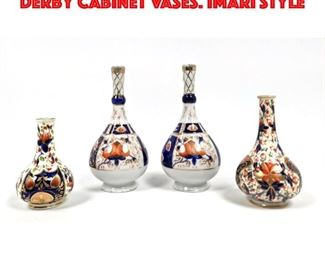 Lot 206 3pc Early Royal Crown Derby Cabinet Vases. Imari style
