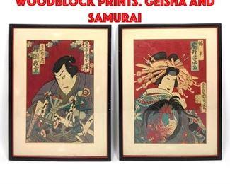 Lot 209 Pr Signed Japanese Woodblock Prints. Geisha and Samurai