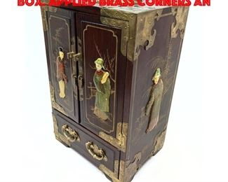 Lot 210 Lacquered Chinese Jewelry Box. Applied brass corners an