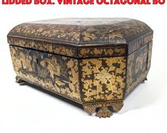 Lot 211 Lacquered Papier Mache Lidded Box. Vintage Octagonal Bo