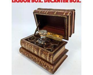 Lot 219 French Leather Faux Books Liquor Box. Decanter box.