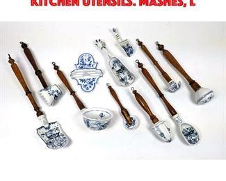 Lot 222 11pcs German Blue and white Kitchen Utensils. Mashes, L